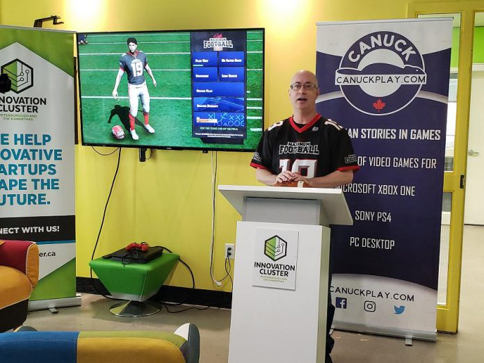 "Canuck Play president David Winter, a client of the Innovation Cluster in downtown Peterborough, announcing the official release of the game developer's third Canadian football title, ""Doug Flutie's Maximum Football 2019"". (Supplied photo)"