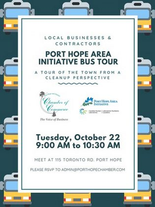 On Tuesday, October 22nd from 9 to 10:30 a.m., the Port Hope Chamber and the Port Hope Area Initiative (PHAI) are offering a bus tour for local businesses and contractors. (Graphic: Port Hope Chamber)