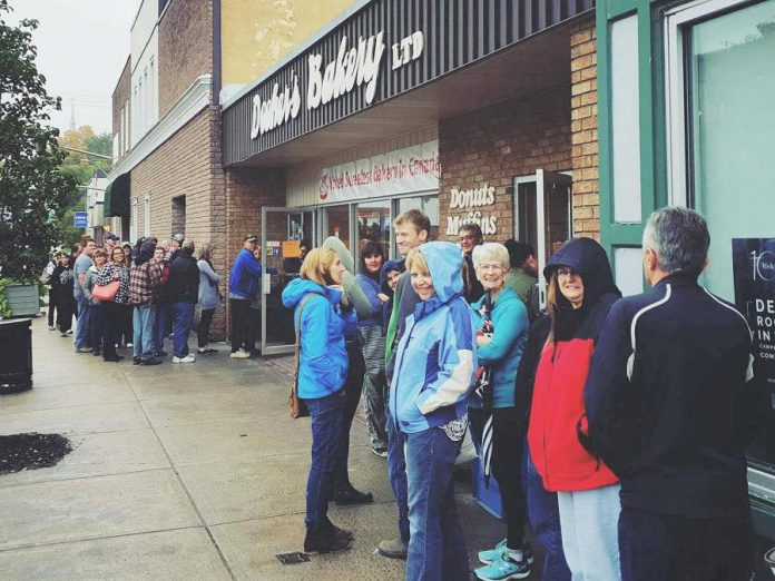 Customers line up outside Dooher's Bakery in Campbellford, one of the most popular bakeries in the Kawarthas.   (Photo: Dooher's Bakery / Facebook)