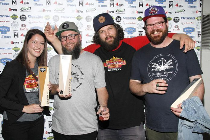 Samantha Brown, Derek Murray, Kevin Buckle, and Kevin Picken of Publican House Brewery at the 2019 Ontario Brewing Awards, where the Peterborough brewery took home a gold medal and two silver medals. (Photo: Ontario Brewing Awards)