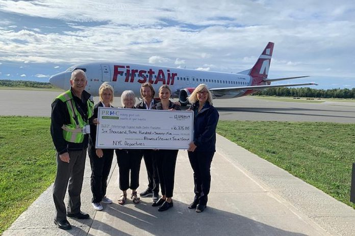 Stewart Tours (now Blowes & Stewart Travel Group Ltd.) with a cheque for $6,375 for the Peterborough Regional Health Centre Foundation. (Photo courtesy of Blowes & Stewart Travel Group Ltd.)