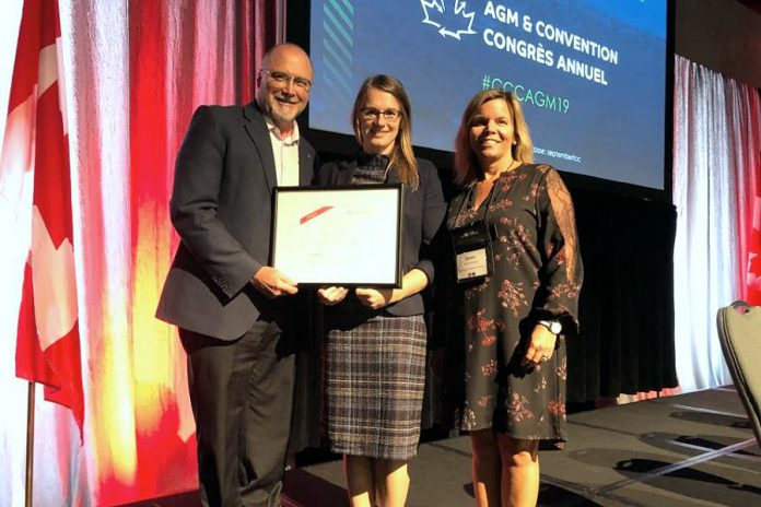 Peterborough Chamber of Commerce CEO and president Stu Harrion, policy analyst and communications specialist Sandra Dueck, and board vice chair Dawn Hennessey at the annual general meeting of the Canadian Chamber of Commerce in Saint John, New Brunswick on September 21, 2019. (Supplied photo)