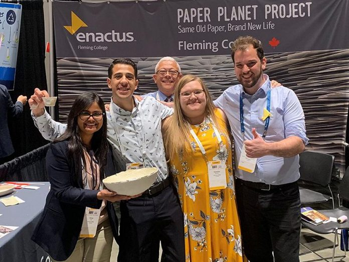 Members of Enactus Fleming College celebrate receiving the People's Choice Award at the World Project Expo at the Enactus World Cup 2019, which took place in San Jose, California from September 16 to 18, 2019. (Photo courtesy of Enactus Fleming College)