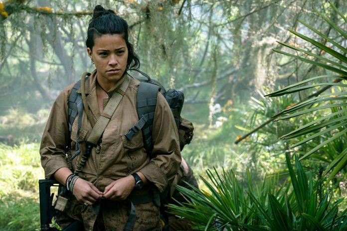 "Gina Rodriguez, pictured here in the 2018 film ""Annihilation"", has the lead role in the Netflix sci-fi thriller ""Awake"", being filmed at locations around southern Ontario, including Peterborough."