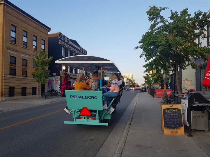 According to PedalBoro co-owner Hillary Flood, 89 per cent of guests spend additional time in the downtown supporting local restaurants and pubs. (Photo courtesy of Pedalboro)
