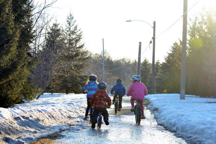 Preparing the night before school for active travel as part of your prep-for-school routine can help make sure you are committed to active travel and warm enough as cooler weather approaches.  (Photo courtesy of GreenUP)