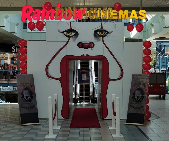 "Queenies Bake Shop owner Adam Pearson, with the help of Larissa Clayton, Lee Higginson, April Potter, Don McNeil, Jeff Lees, and others, transformed the entrance of Rainbow Cinemas in Northumberland Mall into a funhouse for a screening of ""IT Chapter Two"" that also raised funds for the Northumberland Fare Share Food Bank. (Photo: Queenies Bake Shop / Facebook)"