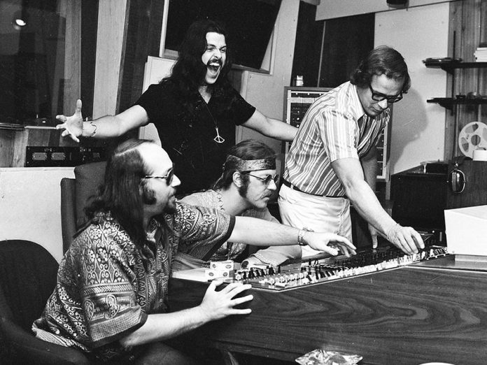 Paul Hoffert, Bob McBride (standing), Skip Prokop, and engineer Phil Sheridan at Thunder Sound Recording Studio circa 1972. McBride passed away in 1998, and Prokop passed away in 2017.  (Photo: John Rowlands)