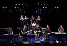 Iconic Canadian rock band Lighthouse is performing at Showplace Performance Centre in downtown Peterborough on October 10, 2019 as part of the band's 50th anniversary tour. Front row: Paul Hoffert, Doug Moore, Dan Clancy, Ralph Cole, and Don Paulton; middle row: Jamie Prokop (son of founding member Skip Prokop); back row: Russ Little, Chris Howells, Simon Wallis, and Steve Kennedy. (Photo courtesy of Hoffert Communications)