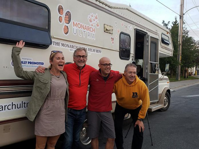 The Monarch Ultra team beside their RV: co-founder, project director, and pollinator advocate Carlotta James; chef Guenther Schubert, who will feed the team; filmmaker Rodney Fuentes, who will document the run; and race director Clay Williams. On September 19, 2019, the team left Peterborough to accompany the runners on their 4,300-kilometre trip to the Sierra Madre Mountains in Mexico. The run, which follows the annual migration journey of the monarch butterfly, will raise awareness of the plight of the threatened pollinator. (Photo: Jeannine Taylor / kawarthaNOW.com)