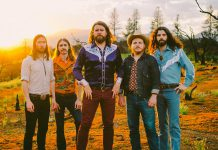 The Sheepdogs are Sam Corbett (drums, backing vocals), Shamus Currie (keyboards, trombone), Ewan Currie (vocals, guitars, clarinet, drums), Jimmy Bowskill (guitars, mandolin, fiddle, banjo, pedal steel), and Ryan Gullen (bass, backing vocals). (Publicity photo)