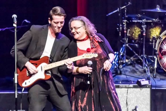 "Local blues singer Jane Archer, pictured here with Brandon Humphrey at the ""Love for Lydia"" benefit concert at Showplace Performance Centre in 2015, performs with her band The Heart of Blues (Liam Archer, Brandon Humphrey, Tony Silvestri, and Andy Pryde) at the Black Horse in downtown Peterborough on Friday, September 13th. (Photo: Linda McIlwain / kawarthaNOW.com)"