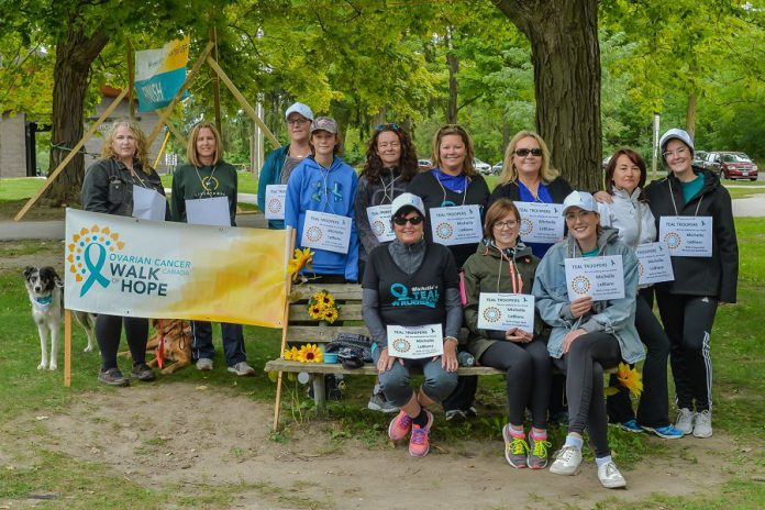 Teal Troopers, one of the top fundraising teams at the 2018 Ovarian Cancer Canada Walk of Hope in Peterborough. This year's walk talkes place on September 8, 2019 at Nichools Oval Park in Peterborough. The Ovarian Cancer Canada Walk of Hope is the only walk in Canada to direct all attention and fundraising towards helping women with ovarian cancer live fuller, better, and longer lives. (Photo courtesy of Marilyn Robinson)