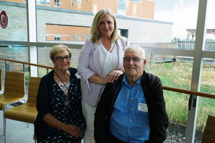 Angie George (left) and Lloyd George (right) have donated to PRHC Foundation for the last 30 years. They've also both been patients at the hospital and their daughter Patty Serota (centre), who works at the PRHC Gift Shop, is thankful for the great care they received, in part due to the generosity of donors like her parents. (Photo: Bianca Nucaro / kawarthaNOW.com)