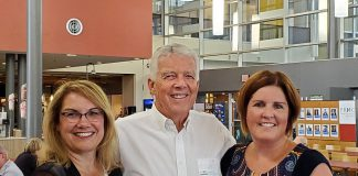 Past Peterborough Regional Health Centre (PRHC) Foundation president and CEO Debbie McGarry joins former executive director Jim Coghlan and current president and CEO Lesley Heighway at the Foundation's recent 40th anniversary celebration at the PRHC Learning Centre. (Photo courtesy of PRHC Foundation)