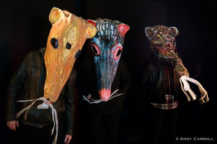 "Rat costumes created by Laurel Paluck. One of the theatrical pieces during the 2017 Pecarious Festival was Kate Story's ""Festivus Rattus 2035"", a post-apocalyptic retelling of the Pied Piper of Hamelin as a metaphor for the underpaid and undervalued artist. (Photo by Andy Carroll)"