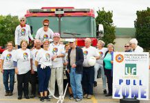 The Minds in Motion Cobourg team, representing people living with dementia and their families, raised $16,000 for the Alzheimer Society of Peterborough, Kawartha Lakes, Northumberland and Haliburton during the agency's annual Pulling for Dementia fundraiser, held on September 13, 2019 at the Peterborough Memorial Centre. Minds in Motion was one of 13 teams that pulled a 44,000-pound fire truck, with the Covia Corp's Mighty Miners pulling the truck the fastest at 15.74 seconds. The fifth annual event raised a total of $34,000 for local programs and services for people living with dementia. (Photo courtesy Alzheimer Society of Peterborough, Kawartha Lakes, Northumberland and Haliburton)
