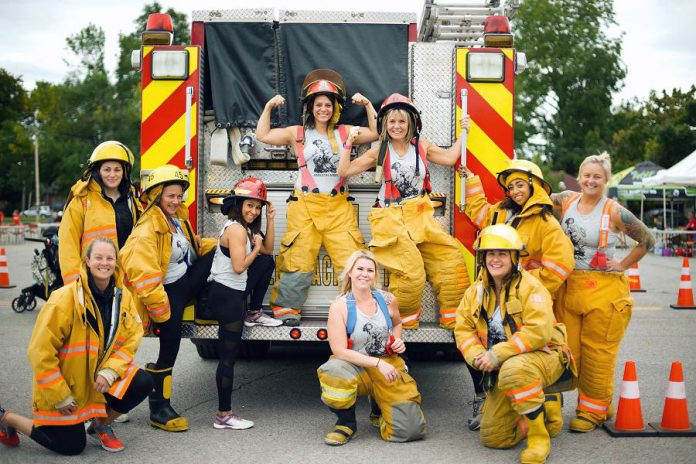 The Amazon Army, an all-women team from Pickering, was one of the 13 teams that competed to see who could pull a 44,000-pound fire truck the fastest in the Pulling for Dementia fundraiser, held on September 13, 2019 at the Peterborough Memorial Centre. The fifth annual event raised a total of $34,000 for local programs and services delivered by Alzheimer Society of Peterborough, Kawartha Lakes, Northumberland and Haliburton for people living with dementia. (Photo courtesy Alzheimer Society of Peterborough, Kawartha Lakes, Northumberland and Haliburton)