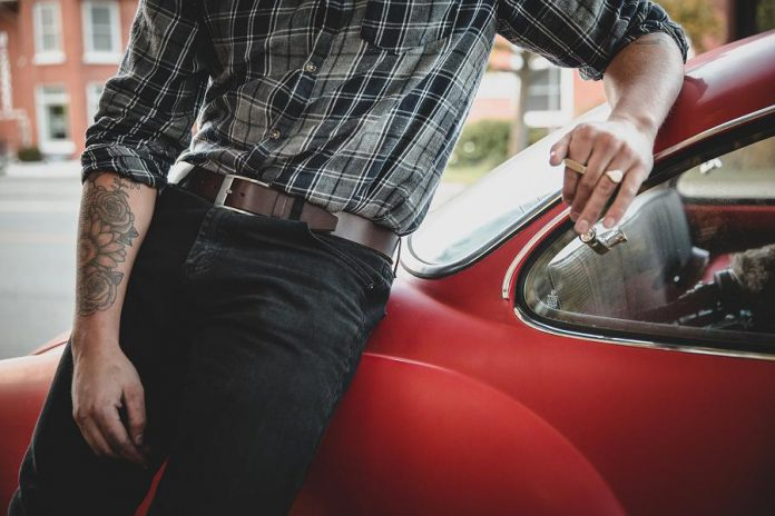 Solid Leather's casual collection offers belts for everyday wear that are an inch and a half wide and available in black, chocolate brown, natural tan, and burgundy. (Photo: Bryan Reid Photography)