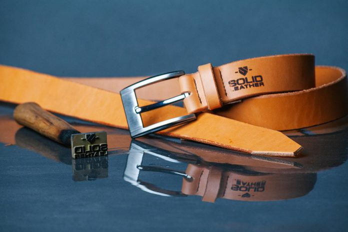 Although Solid Leather's current focus is on men's belts, like this casual belt in natural tan, owner Jesse Bateson is working on two new lines: a belt collection that appeals to women and exclusive one-of-a-kind leather satchels. (Photo: Max Power Photography)