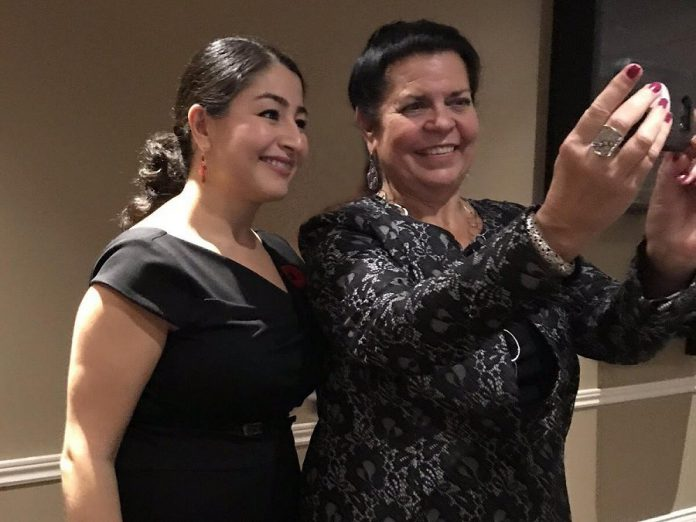 Prior to being one of 55 local women to receive an inaugural Peterborough-Kawartha Women's Leadership Award in 2018, Jeannine Taylor takes a selfie with Peterborough-Kawartha MP and Minister of International Development and Minister for Women and Gender Equality Maryam Monsef, who organized the awards. (Photo: Julie Morris)