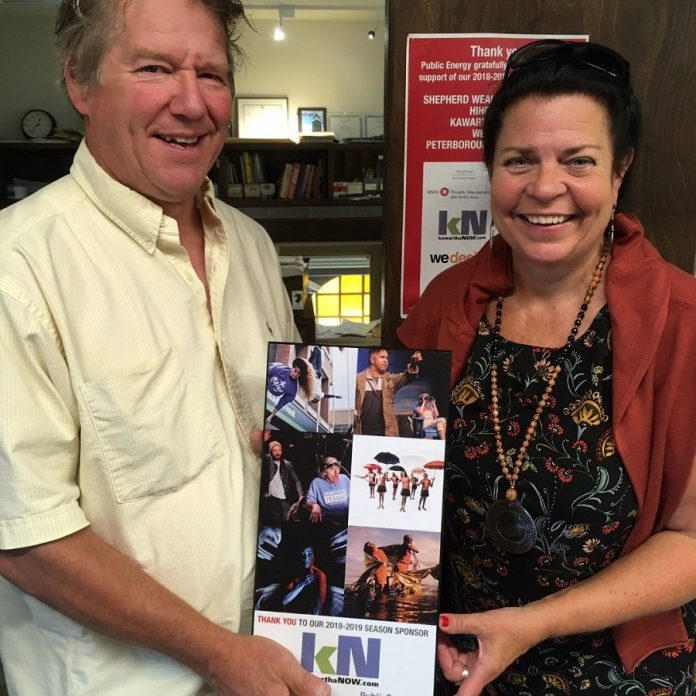 Jeannine Taylor, founder and publisher of online publication kawarthaNOW.com, accepts a plaque from  Public Energy executive director Bill Kimball in recognition of kawarthaNOW's sponsorship of the performing arts organization's 2018-19 season.  kawarthaNOW has a long history of supporting the local arts and music scene, dating back to the original Quidnovis.com website that provided an early, free online presence for several non-profit arts organizations. (Photo: Eva Fisher / Public Energy)