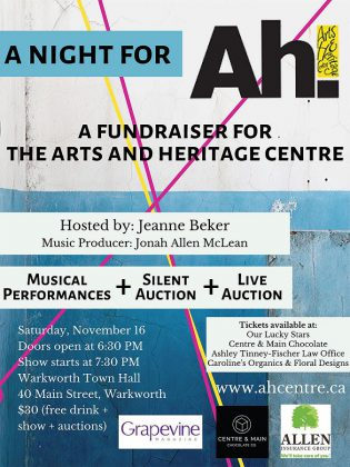 """A Night for Ah!"" on November 16, 2019 is a fundraiser for the Arts and Heritage Centre of Warkworth. (Poster: Arts and Heritage Centre of Warkworth)"