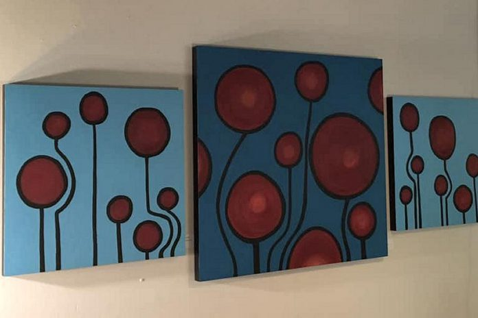 Some of Cathy Ogrodnik's work in her 'Poppies' exhibit at Black Honey. (Photo courtesy of the artist)
