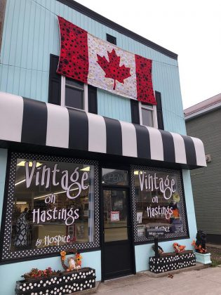 The hand-crafted poppy flag will remain on display  at Vintage on Hastings in Bancroft until after Remembrance Day. (Photo: Barb Shaw)