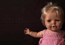 One of the dolls that will be on display at the Creepy Doll Museum at The Theatre on King in downtown Peterborough on October 29 and 30, 2019. The installation features dolls collected by Kathryn Bahun and Ben Hatcher, accompanied by doll stories by local authors Michelle Berry, Devon Code, Sarah Higginson, Mike Pettit, and Matt Snell. (Photo courtesy of Ben Hatcher and Kathryn Bahun)