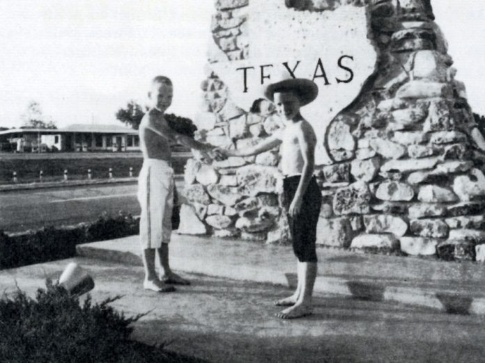 DeNureTours was founded in 1960 by Lindsay residents Fred and Dorothy DeNure, and continues to be owned and operated by the DeNure family. Pictured is Ray DeNure shaking hands with his brother Steve in 1968 at the Texas border.  Ray DeNure took over management of the tour agency in 1985 from his parents. (Photo courtesy of DeNureTours)
