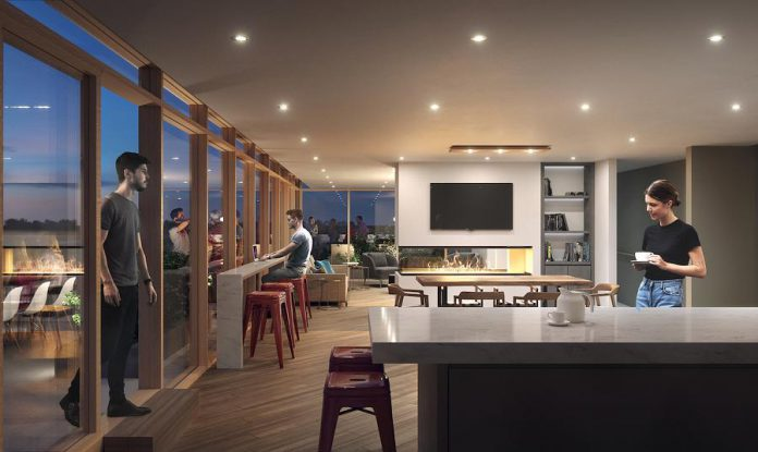 The eighth-floor amenity space at East City Condos is an indoor/outdoor gathering space featuring lots of room for both sit-down dining and comfortable lounging and breathtaking views of East City. (Rendering courtesy of TVM Group)