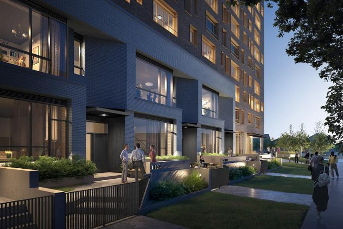 The East City Condos building has been designed to blend into the existing aesthetic of Peterborough's East City. (Rendering courtesy of TVM Group)