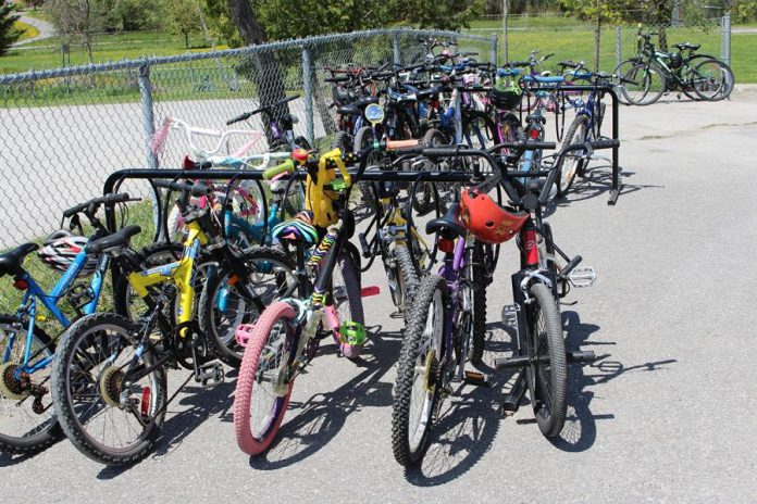 Some schools have identified that adding additional bike racks can encourage students to use their bikes to get to and from school.  (Photo courtesy of GreenUP)