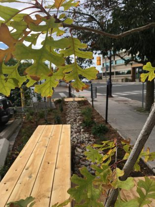 New benches were recently installed at the Jiimaan'ndewemgadnong  pocket park site, located outside of Euphoria Wellness Spa in downtown Peterborough. A canoe art installation by local Anishinaabe artist Tia Cavanagh will be installed later this fall.  (Photo courtesy of GreenUP)
