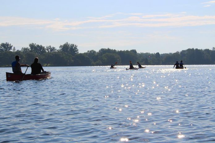 Earlier this year, on National Canoe Day (June 26th), the Jiimaan'ndewemgadnong project was launched with a group paddling to the site from across Little Lake and the Otonabee River. (Photo courtesy of GreenUP)