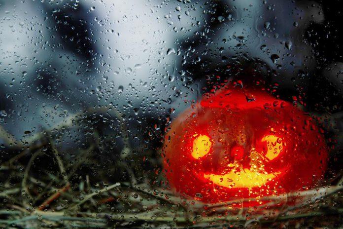 Halloween pumpkin in the rain