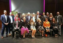 The recipients of the Kawartha Chamber of Commerce & Tourism's 20th annual Awards of Excellence, including Nightingale Nursing president and CEO Sally Harding (front row, third from right). The awards were presented at an event in the Bryan Jones Theatre at Lakefield College School on October 10, 2019. (Photo: Kawartha Chamber / Facebook)