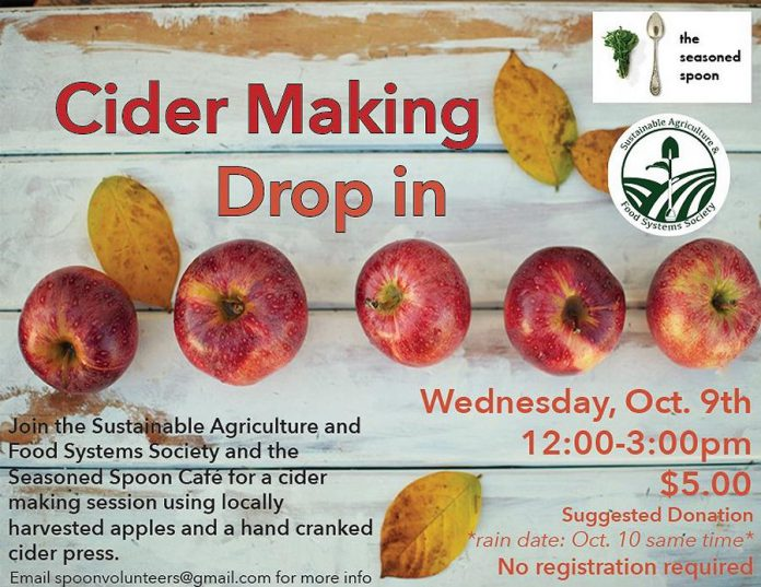 Drop in any time during the Cider Making Drop-in on Wednesday, October 9th from 12 to 3 p.m. (Graphic courtesy of Seasoned Spoon Cafe)