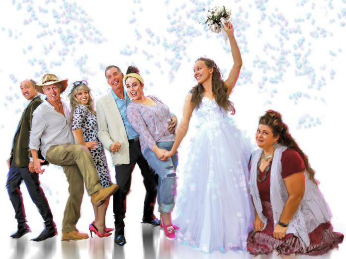 """The St. James Players' production of """"Mamma Mia!"""" stars (left to right) Keevin Carter as Harry Bright, Mark Gray as Bill Austin, Christie Freeman as Tanya, Warren Sweeting as Sam Carmichael, Natalie Dorsett as Donna Sheridan, Gillian Harknett as Sophie Sheridan, and Lyndele Gauci as Rosie. The hit musical featuring songs from Swedish pop icons ABBA runs for seven performances from November 8 to 26, 2019 at Showplace Performance Centre in downtown Peterborough. (Photo courtesy of St. James Players)"""