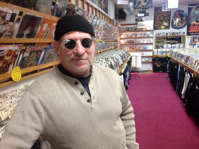 Moondance owner Mike Taveroff in January 2018, when he announced he was retiring and closing the iconic downtown Peterborough record store. He closed the store and retired in April 2018, and was diagnosed with stage four cancer less than a year later. Taveroff passed away on the Thanksgiving weekend. (Photo: Paul Rellinger / kawarthaNOW.com)