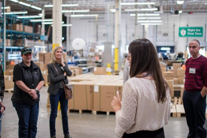 A Siemens Peterborough employee gives a tour to 40 educators from the Kawartha Pine Ridge District School Board and the Peterborough, Victoria, Northumberland and Clarington Catholic School Board on Wednesday, October 9, 2019. (Photo: Alyssa Cymbalista)