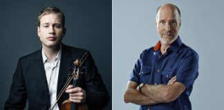 """Canadian violin virtuoso Jonathan Crow (left) will perform Johannes Brahms' epic """"Violin Concerto in D major"""" at the inaugural concert of the Peterborough Symphony Orchestra's 2019-20 season at Showplace Performance Centre in downtown Peterborough on November 2, 2019. Concert narrator, musician, and CBC Music host Tom Allen (right) will speak about the relationships between composers Robert Schumann, Clara Schumann, and Johannes Brahms, creating a concert experience that goes beyond the music. (Publicity photos)"""