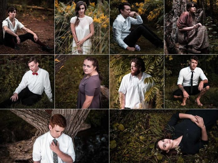 "The cast of ""Spring Awakening"" (from left to right, top to bottom): Kevin Lemieux as Melchior, Alessandra Ferreri as Wendla, Ryan Hancock as Moritz, Caitlin Currie as Martha, Drew Mills as Ernst, Sarah Hancock as Anna, Rowan Lamoureux as Georg, Carl Christensen as Hanschen, Joseph Roper as Otto, and Aimee Gordon as Thea. Not pictured: Kalene Lupton as Ilse, and Keith Goranson and Meg O'Sullivan who play multiple adult roles. (Photos: Samantha Moss / MossWorks Photography)"