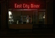 """Marsala Lukianchuk looks out the window of the East City Diner in her role as wise-cracking waitress Kat in Wyatt Lamoureux and Jamie Oxenham's short film noir """"Apple Pie, Ice Cream"""". The film, also stars Terry Convey and Michael Valliant-Saunders as two estranged brothers who have a tense reunion inside the diner (which is actually the East City Coffee Shop in Peterborough). There will be a free premiere screening of the film on November 24, 2019 at Market Hall Performing Arts Centre in downtown Peterborough. (Photo courtesy of Wyatt Lamoureux)"""