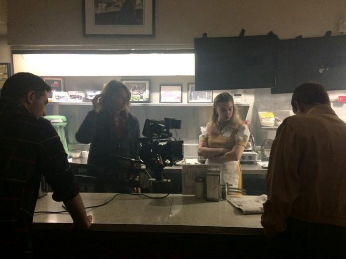 """Apple Pie, Ice Cream"" director Jamie Oxenham sets up a shot with actors Marsala Lukianchuk, Terry Convey, and Michael Valliant-Saunders. (Photo courtesy of Wyatt Lamoureux)"