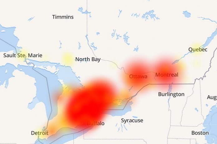A map at the website downdetector.ca shows the extent of the Bell service outage on November 9, 2019 based on customer reports. (Map: downdetector.ca)