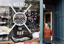 Needles in the Hay owner Deanna Guttman in front of her popular yarn shop at 385 Water Street in downtown Peterborough. The independent locally owned business, which celebrates its 10th anniversary in 2020, has everything for your knitting and crocheting needs, including free weekly instructional sessions. Needles in the Hay is offering several special promotions, beginning on Black Friday and running all weekend or until supplies last. (Photo: Amy E. LeClair)