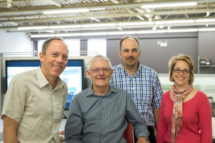 The Cox family, owners and operators of the local independent business Brant Basics, in 2013: Jeff Cox, founder Morris Cox, David Cox, and Susan Sharp. (Photo: Pat Trudeau / kawarthaNOW.com)