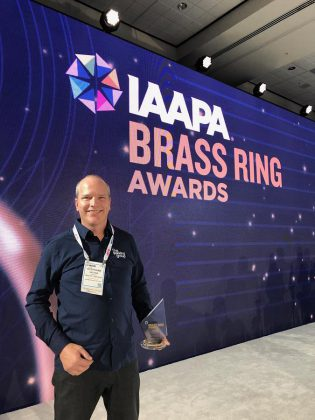 Treetop Trekking president Stéphane Vachon after receiving the Best New Kids Attraction award from the International Association for Amusement Parks and Attractions, in Orlando Florida on November 20, 2019. (Photo: Jamie Hesser)